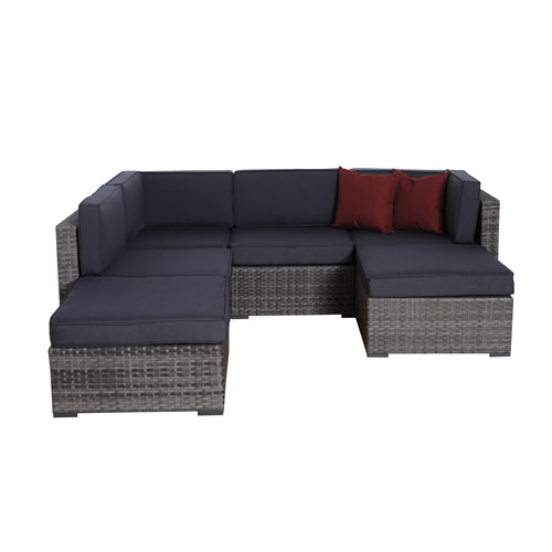 International Home Miami Clermont Six-Piece Grey Wicker Seating Set with Grey Cushions