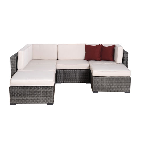 Clermont Six-Piece Grey Wicker Seating Set with Off-White Cushions