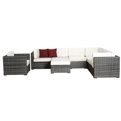 Marseille Eight-Piece Grey Wicker Seating Set with Off White Cushions