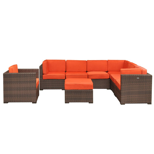 Marseille Sectional Brown Synthetic Wicker Eight-Piece Set With Orange Cushions