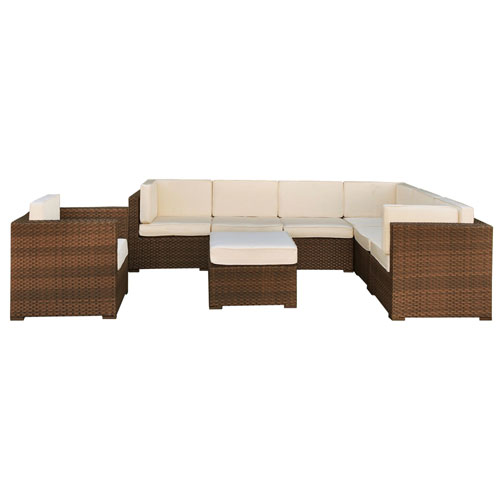 Marseille Sectional Brown Synthetic Wicker Eight-Piece Set With Off-White Cushions