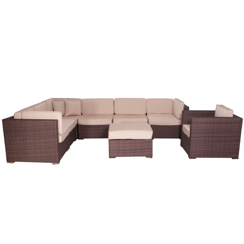 Marseille Sectional Brown Synthetic Wicker Eight-Piece Set With Deluxe Cushions