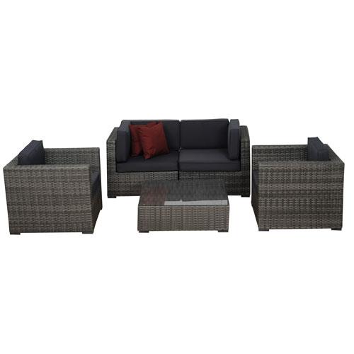 International Home Miami Metz Five-Piece Grey Wicker Seating Set with Grey Cushions