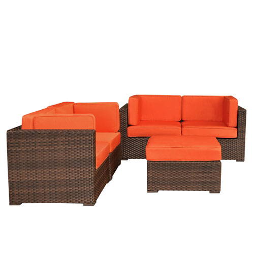 International Home Miami Nice Conversation Brown Synthetic Wicker Five-Piece Set With Orange Cushions