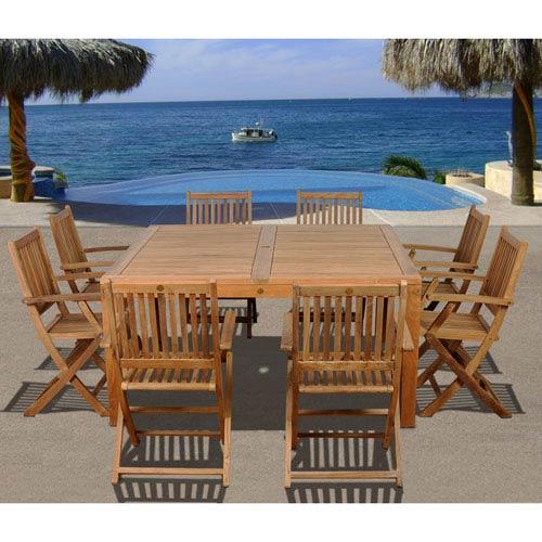 International Home Miami Amazonia Dubai 9 Piece Teak Square Patio Dining Set