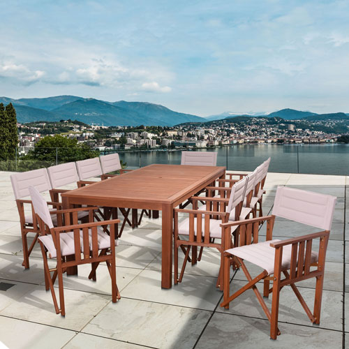 Amazonia Panama 11 Piece Patio Rectangular Dining Set, Khaki