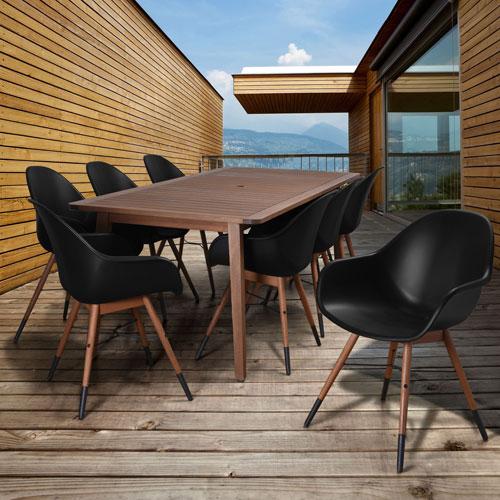 International Home Miami Amazonia Charlotte 9 Piece Rectangular Patio Dining Set, Black