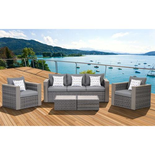 International Home Miami Atlantic Cebu Grey 5 Piece Wicker Patio Conversation Set With Gray Cushions