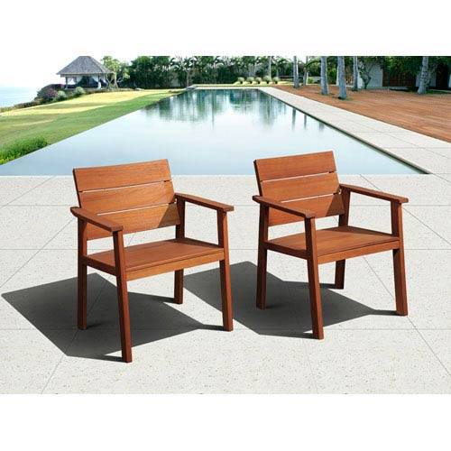 Amazonia Nelson Eucalyptus Easy Carver Two-Piece Chair Set with Cushions
