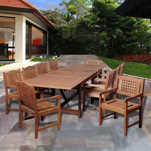 International Home Miami Amazonia Deangelo 11 Piece Eucalyptus Extendable Rectangular Patio Dining Set