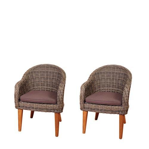 International Home Miami Amazonia Guam 2 Piece Teak/Wicker Arm Chair Set with Brown Cushions