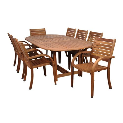 International Home Miami Arizona Nine-Piece Eucalyptus Oval Dining Set
