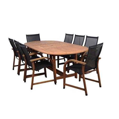 International Home Miami Bahamas Nine-Piece Eucalyptus Oval Dining Set