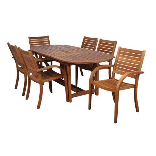 International Home Miami Arizona Seven-Piece Eucalyptus Oval Dining Set