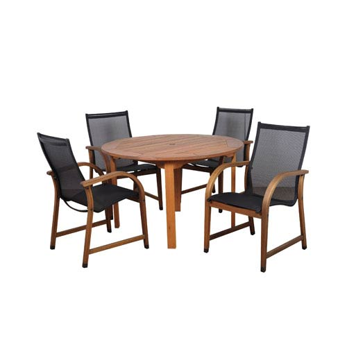 International Home Miami Bahamas Five-Piece Eucalyptus Round Dining Set