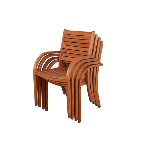 International Home Miami Arizona Stacking Armchairs, Set of Four