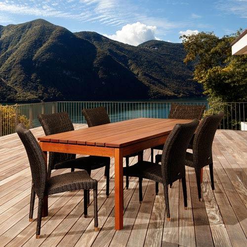 International Home Miami Amazonia Jamison 7 Piece Eucalyptus/Wicker Rectangular Patio Dining Set