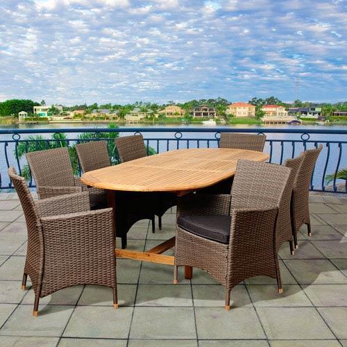 International Home Miami Amazonia Teak Rayford 9 Piece Teak/Wicker Extendable Oval Dining Set with Grey Cushions