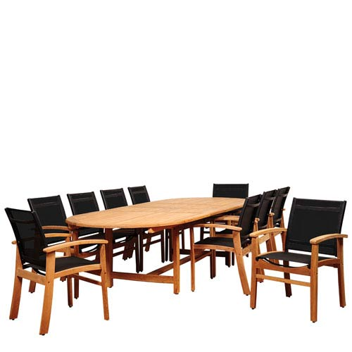 Amazonia Edenton 11 Piece Teak Double Extendable Oval Dining Set With Black  Sling Chair