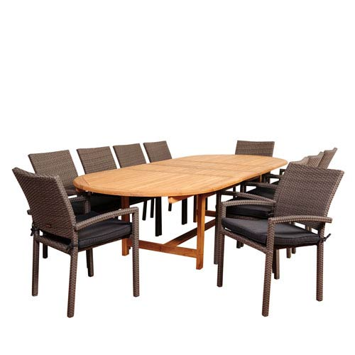 Amazonia City Villa 11 Piece Teak/Wicker Double-Extendable Oval Dining Set with Grey Cushions