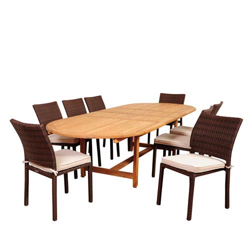 International Home Miami Amazonia Noah 9 Piece Teak/Wicker Double-Extendable Oval Dining Set