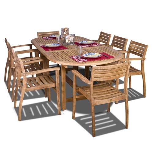 International Home Miami Coventry Nine-Piece Teak Dining Set