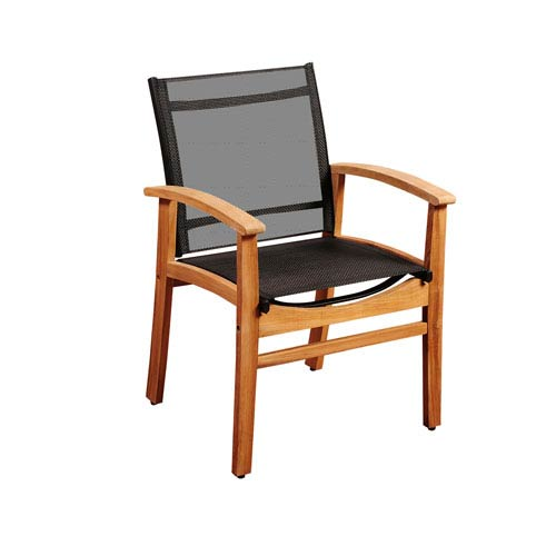 Amazonia Fortuna Teak Dining Armchair with Black Textile Sling