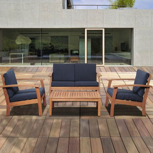 Amazonia Murano 4 Piece Eucalyptus Patio Conversation Set with Blue Cushions