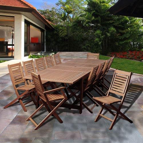 Amazonia Brandon 13 Piece Eucalyptus Extendable Rectangular Patio Dining Set