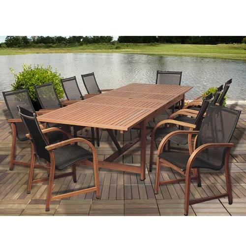 International Home Miami Amazonia Damon 11 Piece Eucalyptus Extendable  Rectangular Patio Dining Set