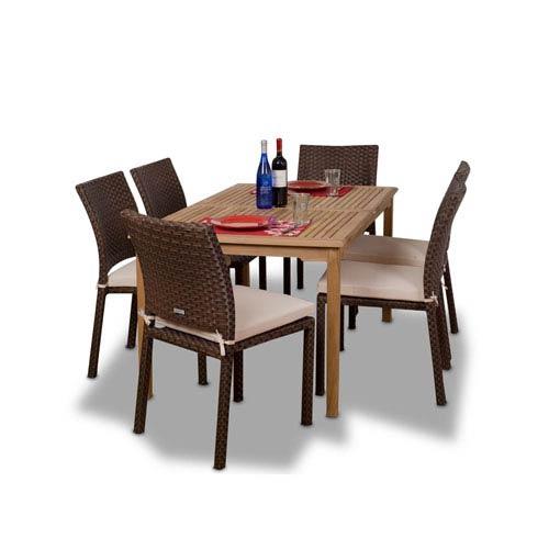 International Home Miami Luxemburg Seven-Piece Teak/Wicker Dining Set