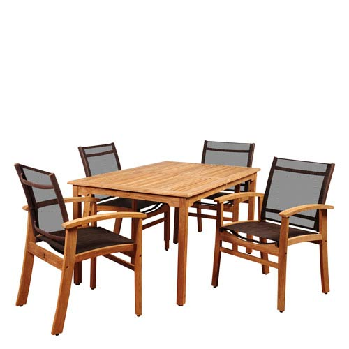 Amazonia New Pacific 5 Piece Teak Rectangular Dining Set with Brown Sling Chair