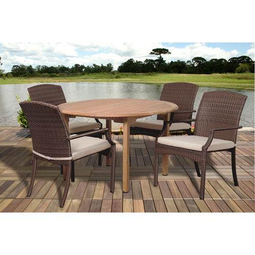 International Home Miami Amazonia Teak Vincenzo 5 Piece Teak/Wicker Round Dining Set with Off-White Cushions