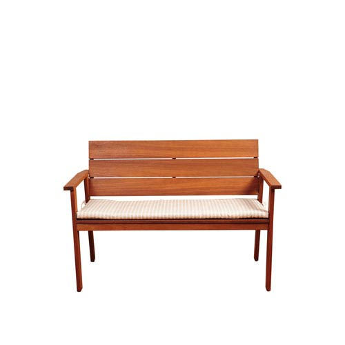 Amazonia Nelson 49-Inch Eucalyptus Patio Bench with Striped Beige and Off-White Cushion