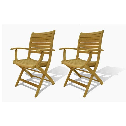International Home Miami Dublin Teak Folding Armchairs, Set of Two