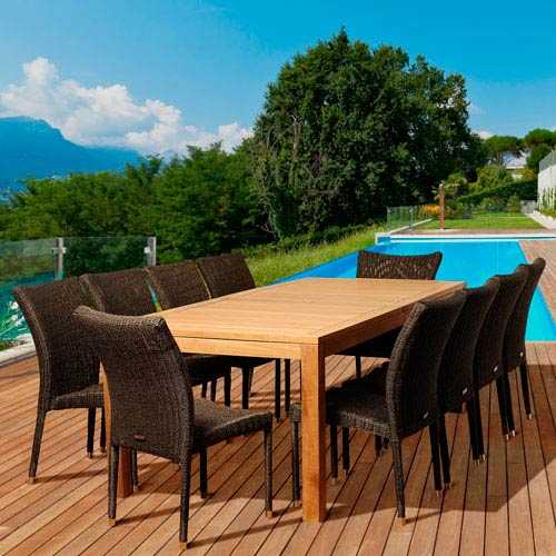 International Home Miami Amazonia Teak Christopher 11 Piece Teak/Wicker Rectangular Patio Dining Set