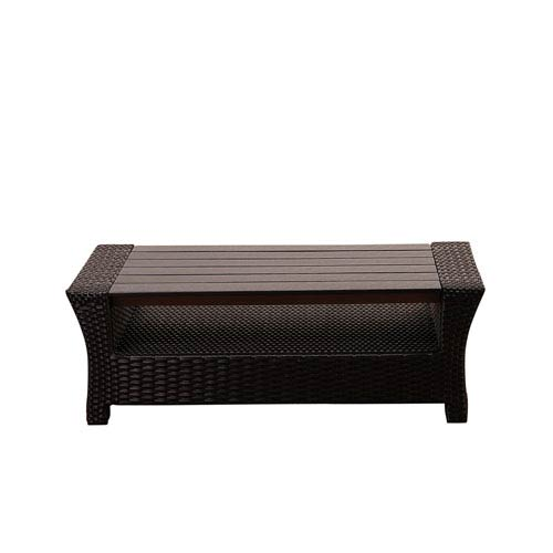 International Home Miami Atlantic Staffordshire Black Wicker Coffee Table with Plastic Wood Top