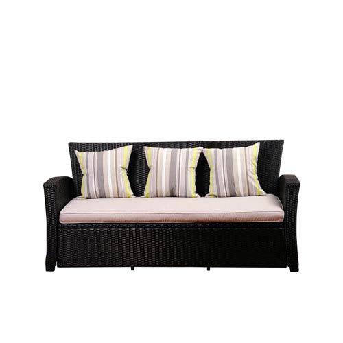 Atlantic Staffordshire Black Wicker Sofa with Light Grey Cushions