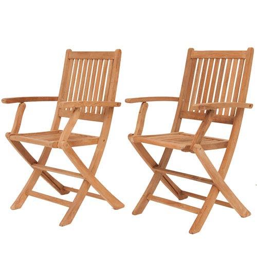 London Teak Folding Armchairs, Set of Two