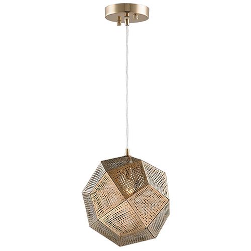 Worldwide Lighting Corp Geometrics Champagne 10-Inch One-Light Pendant