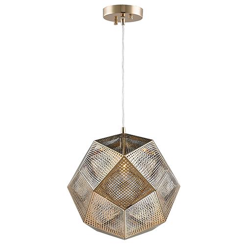 Worldwide Lighting Corp Geometrics Champagne 12-Inch One-Light Pendant