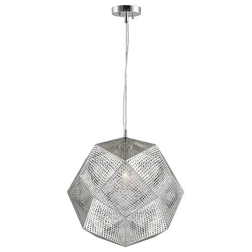 Worldwide Lighting Corp Geometrics Chrome Three-Light Pendant