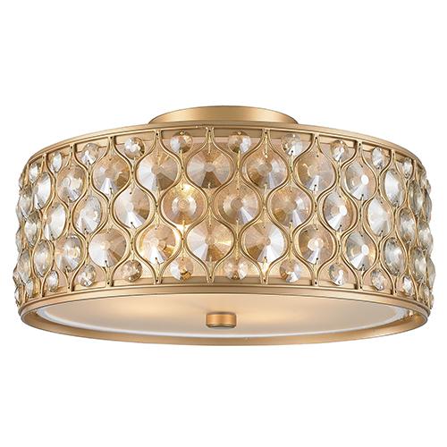 Worldwide Lighting Corp Paris Matte Gold Four-Light Semi Flush Mount