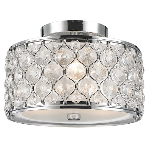 Worldwide Lighting Corp Paris Polished Chrome Three-Light Semi Flush Mount