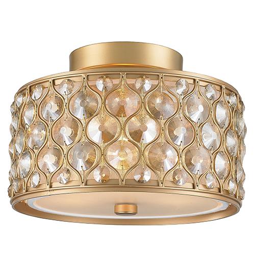 Worldwide Lighting Corp Paris Matte Gold Three-Light Semi Flush Mount