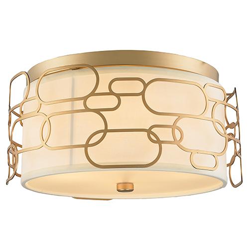 Worldwide Lighting Corp Montauk Matte Gold Four-Light Flush Mount