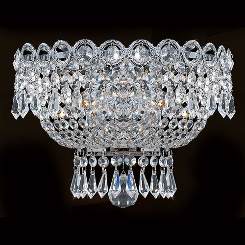 Worldwide Lighting Corp Empire Two-Light Chrome Finish with Clear-Crystals Wall Sconce