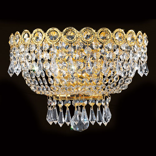 Worldwide Lighting Corp Empire Two-Light Clear-Crystals Gold Finish Wall Sconce