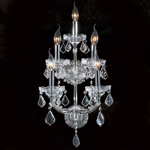 Worldwide Lighting Corp Maria Theresa Five-Light Chrome Finish with Clear-Crystals Wall Sconce
