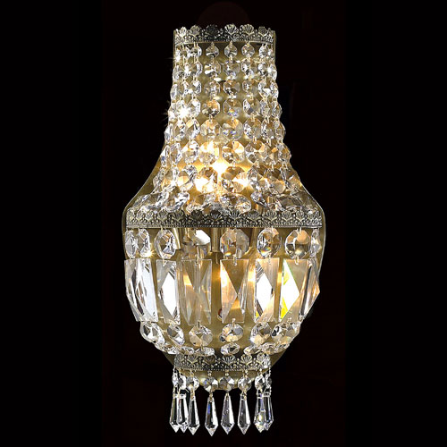 Worldwide Lighting Corp Metropolitan Three-Light Antique Bronze Finish with Clear-Crystals Wall Sconce